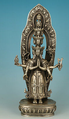 Big Chinese Copper Plating Silver Carved 1000-hand Buddha Kwan-yin Statue