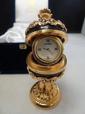 Faberge Imperial Black Onyx  Egg Clock - New Box