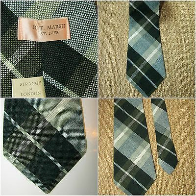 Vintage Strange of London tie GREEN CHECK St Ives country 70's tartan plaid 60s