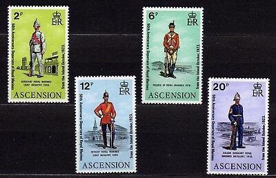 ASCENSION #173-176 MNH 50th ANNIV. DEPARTURE OF ROYAL MARINES (UNIFORMS)