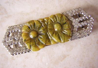 FABULOUS VINTAGE ART DECO GREEN  & AMBER BAKELITE DRESS BUCKLE with PASTE DETAIL
