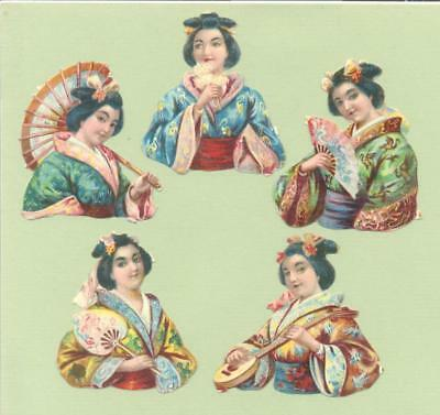Victorian Die Cut Scraps,  Japanese Pretty Girls    Y31