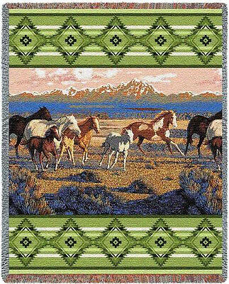 Throw Tapestry Afghan - Wild Horses (Green) 3292