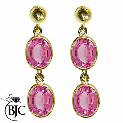BJC® 9ct Yellow Gold Natural Pink Topaz Oval Double Drop Dangling Studs Earrings