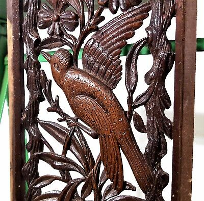 Paradise Lacework Panel Antique French Hand Carved Wood Carving Miniature 10