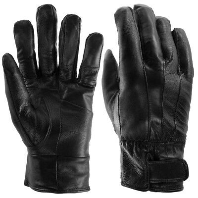 Men's Insulated Genuine Leather Gloves, Light Fleece Lining For Winter, Black