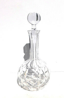 Viintage Liquor Clear Cut Crystal Decanter w Stopper Fluted Neck Deeply Cut X's