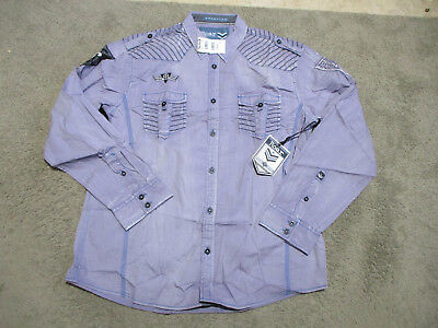 NEW Roar Button Up Shirt Adult 2XL XXL Purple Black Club Wear Long Sleeve Mens