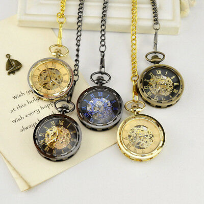Vintage Steampunk Pocket Watch Mechanical Antique Chain Open Face Jewelry Gift