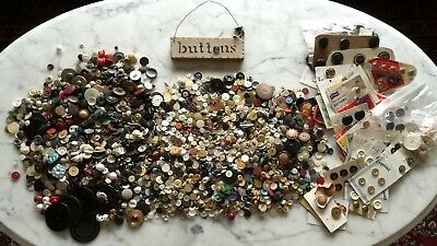 Large Lot of Antique and Vintage Buttons, MIXED UNSORTED & 34 Cards 8 pounds
