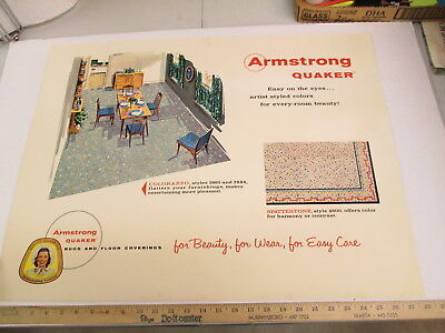 ARMSTRONG 1950s dining home floor covering carpet rug store display sign SP CO