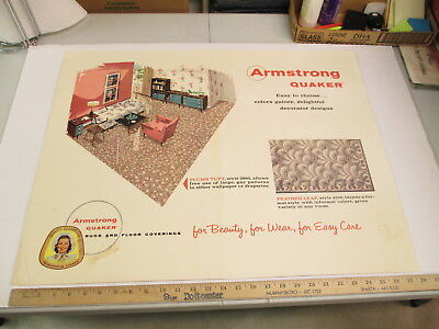 ARMSTRONG 1950s living floor covering carpet rug store display sign Eames FL PT