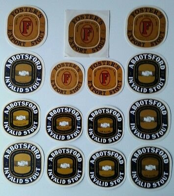 15 Vintage Abbotsford & Foster's Stout & Lager Beer Labels - Free Postage Aust.