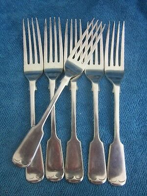 6 vintage COOPER BROS silverplated  FIDDLE HANDLE TABLE FORKS - Entree 17cm long