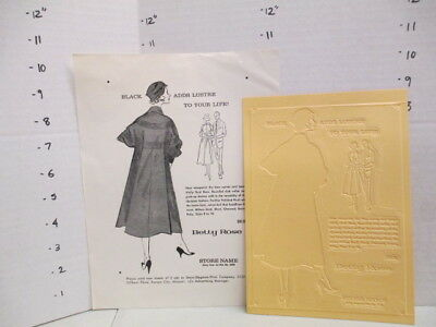 BETTY ROSE 1957 news advertising mat women's clothing Eames coat suit PANTHER