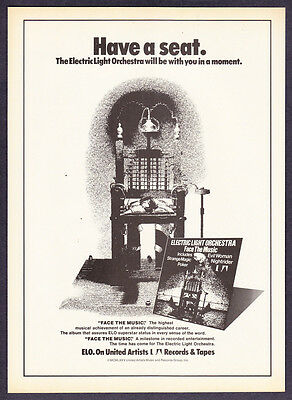 """1975 ELO Electric Light Orchestra """"Face the Music"""" Album Release promo print ad"""