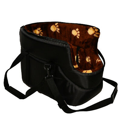 BLACK with BROWN FUR CARRY BAG SHOULDER TRAVEL CARRIER DOG PUPPY CAT PET ANIMAL