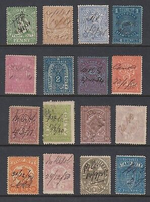 VICTORIA 1884-96 STAMP DUTY, group of 16 stamps, USED Fiscal Cancels
