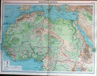 """ NORTHERN AFRICA "" MAP (1922) - Times Atlas of The World - Plate 69"
