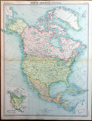 """"""" NORTH AMERICA - Political """" MAP (1922) - Times Atlas of the World - Plate 80"""