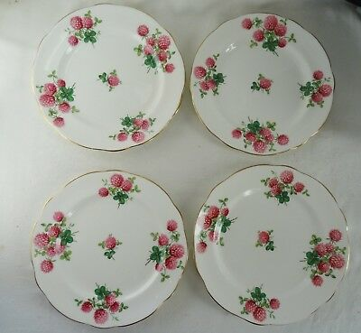 "HAMMERSLEY  Lot of 4 Pie Dessert Plates 7 1/4""  CLOVER pink on white"