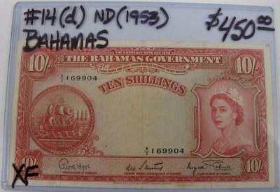 BAHAMAS ND(1953) 10-SHILLINGS NOTE! PICK #14 (d) EXTRA FINE! REAL NICE TYPE NOTE
