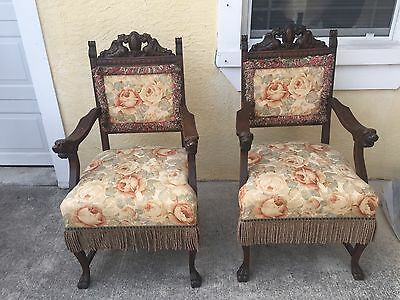 Victorian Renaissance Revival Carved Oak Winged Dragon Cabriole Claw Foot Chairs