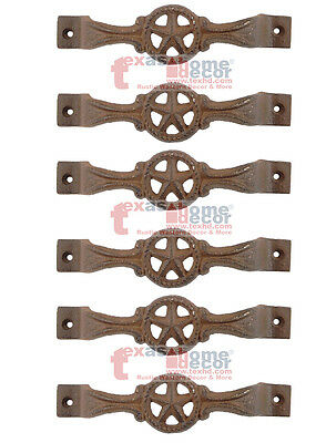 6 Star Cast Iron Antique Style RUSTIC Barn Handle, Gate Drawer Pull, Shed Door