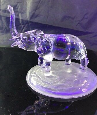 D'Arques Crystal Clear Trunk Up Elephant Figurine on Wide Base -Free Shipping