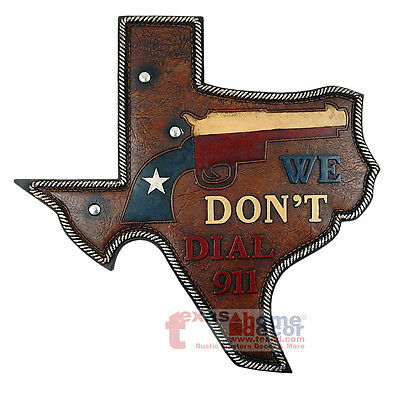 Texas Map Wall Gun Plaque We Dont Dial 911 Rustic Flag Pistol Western Decor