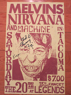 Nirvana signed flyer by 2 coa Exact Proof! Krist Novoselic Chad Channing poster