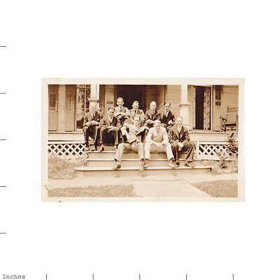 Old Vintage Photo MEN SITTING ON PORCH STAIRS STEPS OF HOUSE