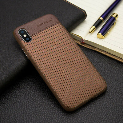 For iPhone X 8 7 Plus Luxury Slim Hybrid TPU Leather Back Shockproof Case Cover