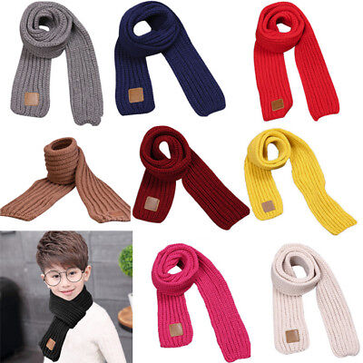 Child Toddler Kids Baby Boy Girl Long Scarf Knitted Warm Neckerchief Snood Scarf