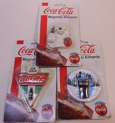 3 Vintage Coca Cola 1995 Fridge Magnets