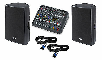 Dynacord PM600-3 powered mixer + D12-3 3-way speakers + cables NEW