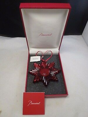 New Baccarat 2014 Annual Noel Christmas Sun Ornament Red New In Box 280392