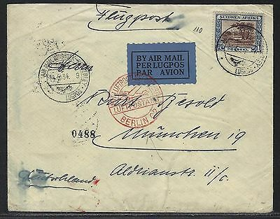 1934 South West Africa Air Mail Cover - Windhoek to Munich, Germany