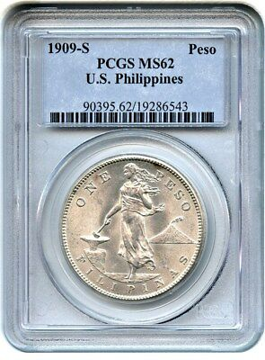 1909-S Philippines Peso PCGS MS62 - Popular US Issue from the Philippines