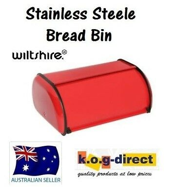 Wiltshire Bread Bin Stainless Steel Red Bread Box 34Cm