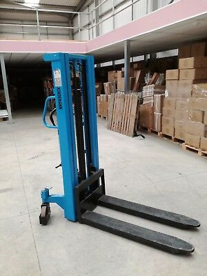 1 tonne Used Hydraulic 1000kg Manual Lifter Mover Pallet Stacker 2.5 m lift
