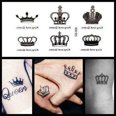 Mini King & Queen Crown Temporary Tattoo, Royal Wedding Mini Party Tattoo