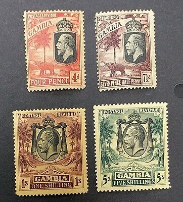 GAMBIA 1922 4d to 5s SG 118 - 122 Sc 121 - 124 set 4 MLH