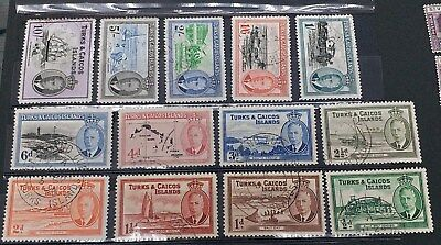 TURKS & CAICOS 1950 0.5d  to 10s SG 221 - 233 Sc 105 - 117 set 13 Fine Used