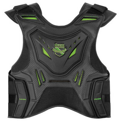 Icon Mens and Womens D30 Black/Green Stryker Vest LG/XL 2701-0615
