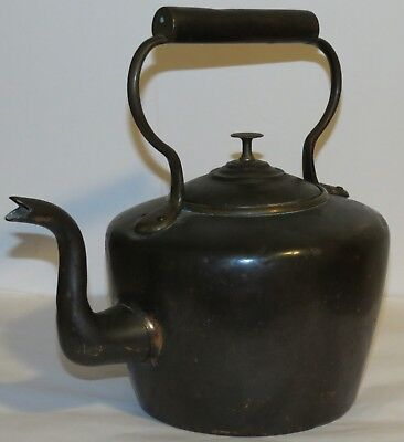 Antique Circa 1800's Hand-Made Copper & Brass Large Heavy Tea Kettle