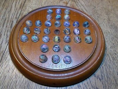 """Antique Small  Mahogany Solitaire Board With 32 Antique 1/2"""" Hand Blown Marbles"""