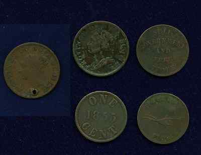 Canada  Nova Scotia   1832-1840  Half-Penny & Misc. Tokens, Group Lot Of (5)