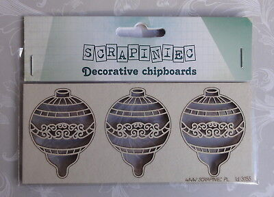 3 x TINSEL BAUBLES Decorative Christmas Chipboards by SCRAPINIEC - Paper Crafts