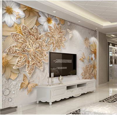 High-end 3D MURAL canvas Wallpaper ART Embossed flower Background wall W5399